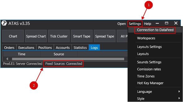 Connecting to CQG/Continuum / Knowledge Base / ATAS support